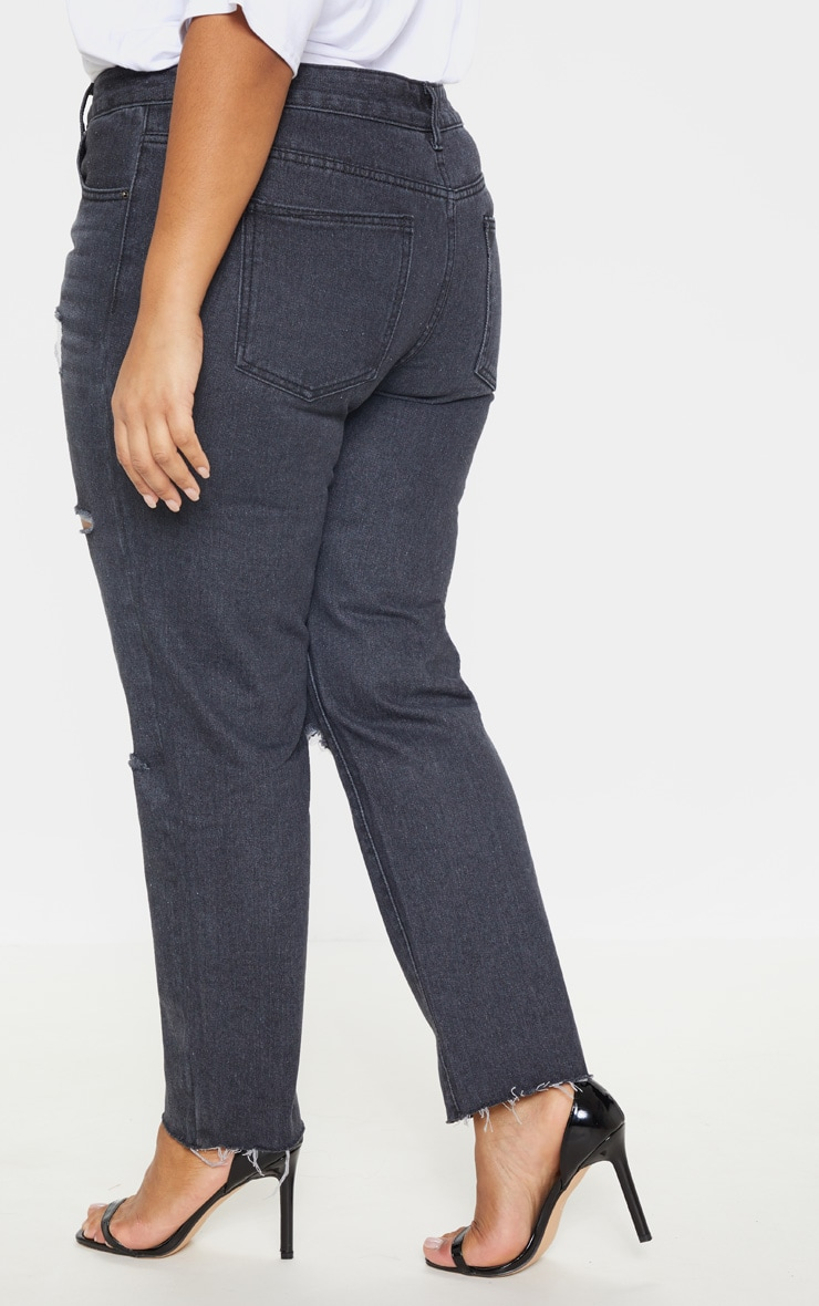 Plus Black Cropped Straight Leg Jean 4