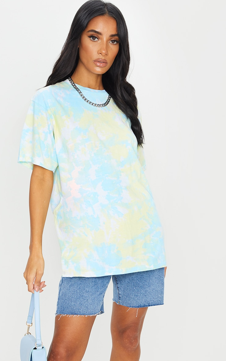 Multi Printed Tie Dye Boyfriend Fit T Shirt 1