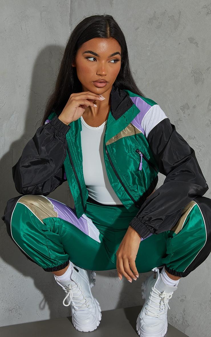 Green Colourblock Shell Zip Through Jacket 1