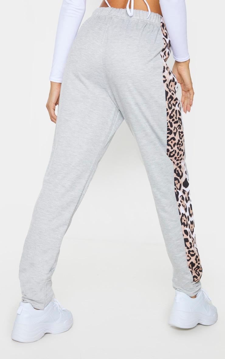 Grey Contrast Leopard Side Stripe Joggers 3