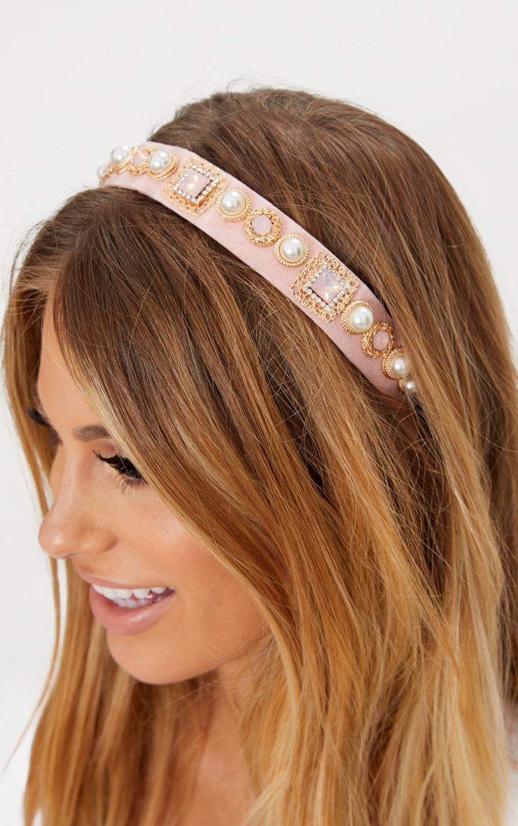 Nude Embellished Elastic Headband
