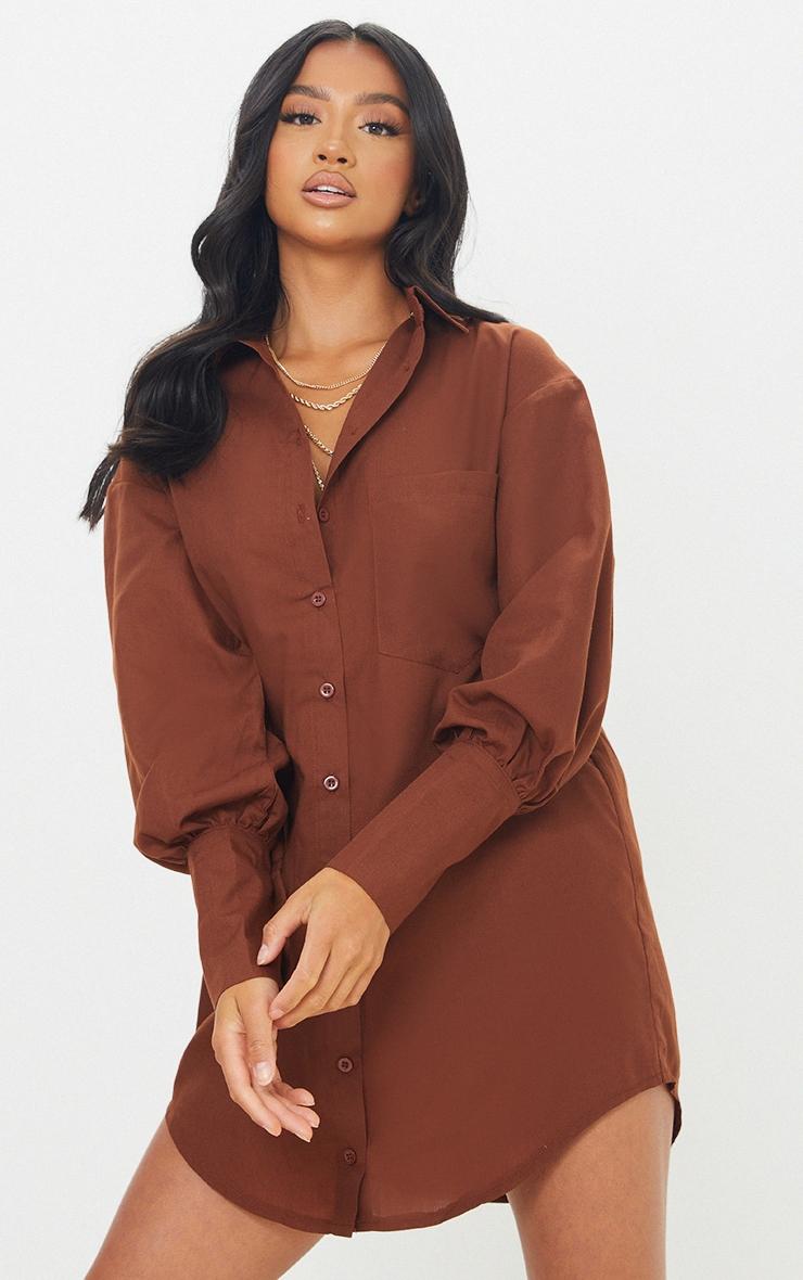 Petite Chocolate Shirt Split Hem Cuff Dress 1