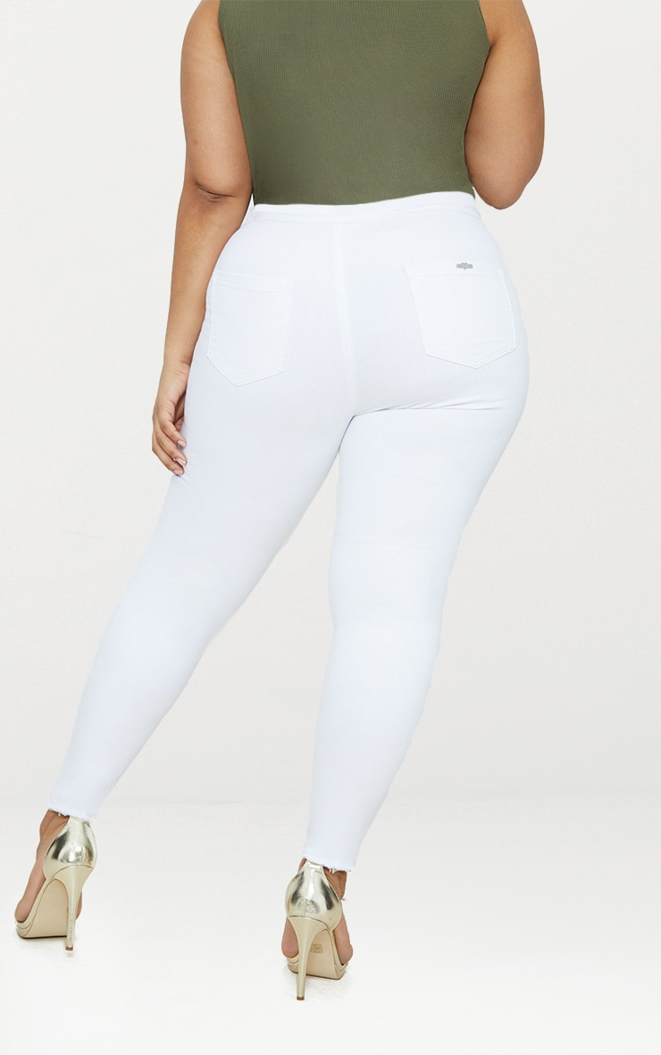 Plus White Disco Skinny Jeans 4