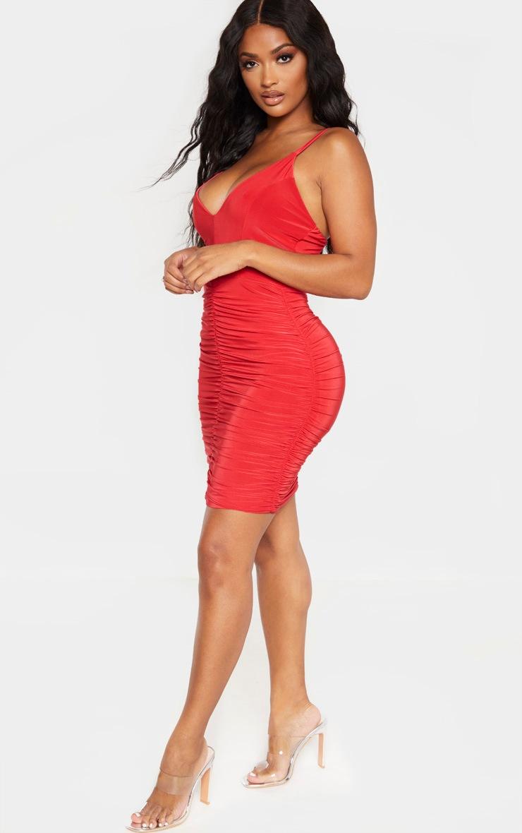Shape - Mini-robe rouge froncée à bretelles fines 4