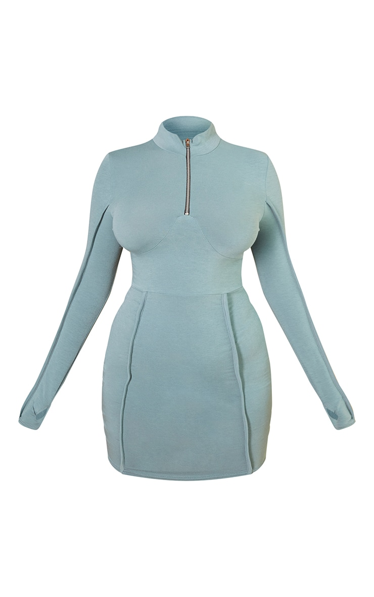 Recycled Washed Green Underbust Detail Zip Up High Neck Bodycon Dress 5