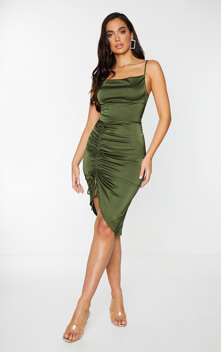 Khaki Satin Strappy Ruched Side Midi Dress 3
