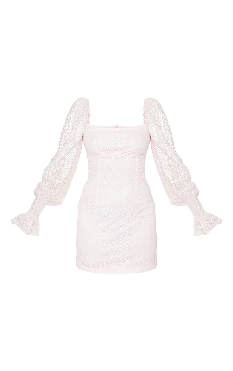 Petite Dusty Pink Long Sleeve Lace Swing Dress 5