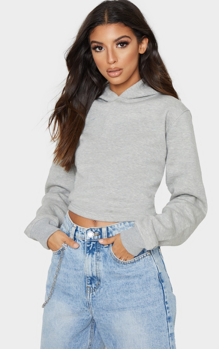 Grey Lace Up Back Crop Hoodie 2