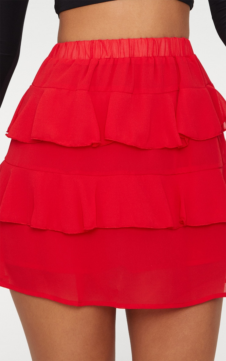 Red Chiffon Ruffle Mini Skirt 6