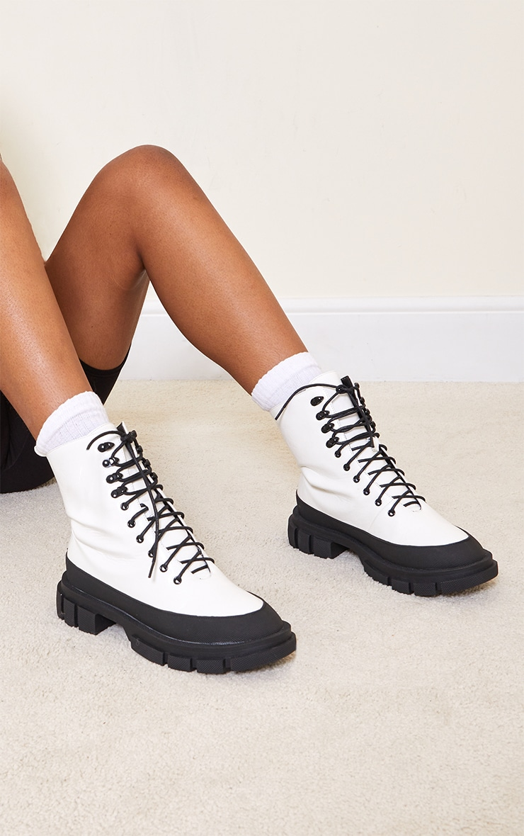 White Quilted Panel Lace Up Chunky Cleated Hiker Boots 1
