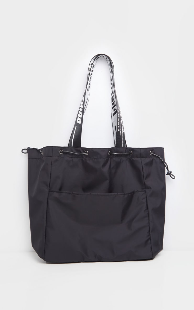 PRETTYLITTLETHING Black Drawstring Nylon Tote Bag 2