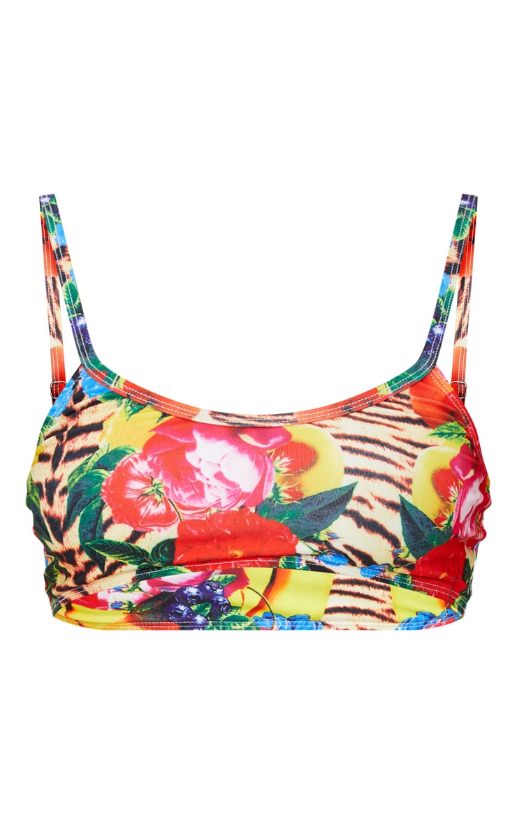 Wild Fruit Print Low Scoop Neck Bikini Top 3