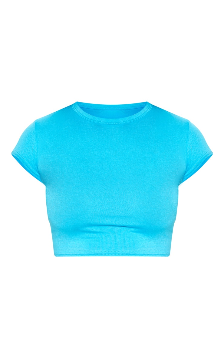 Basic Bright Blue Short Sleeve Crop T Shirt 3