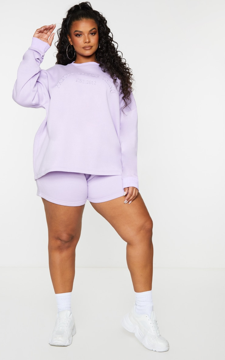PRETTYLITTLETHING Plus Lilac Embroidered Oversized Sweat Shorts 1