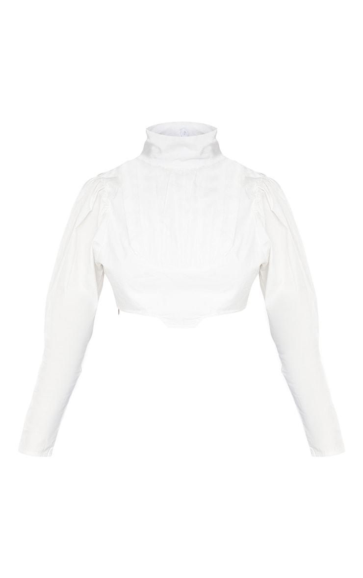 Petite White Cropped Blouse 5
