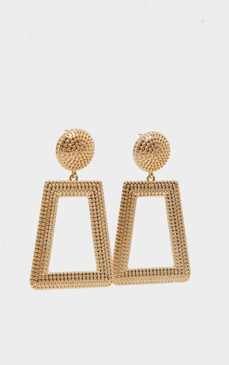 Gold Circle Stud Textured Door Knocker Earring 2