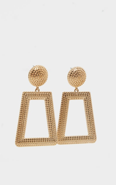 Gold Circle Stud Textured Door Knocker Earring