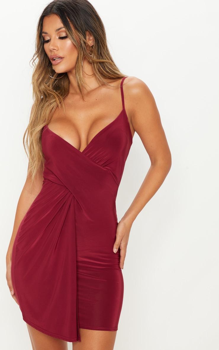 Burgundy Slinky Wrap Over Bodycon Dress 1
