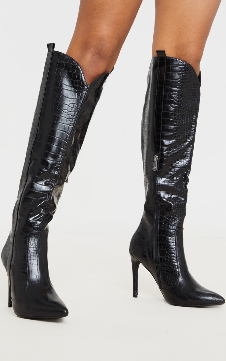 Black Croc PU Stiletto Heel Western Boots 2