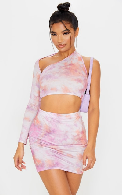 Pink Tie Dye Mini Skirt