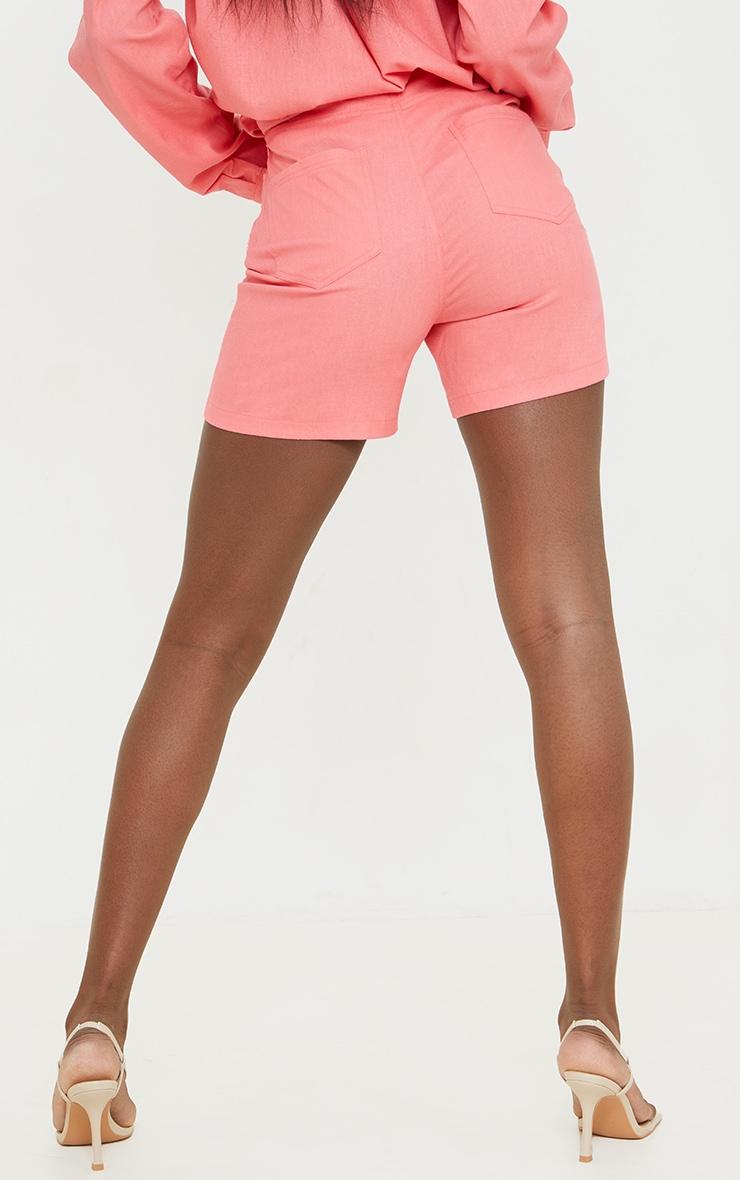 Tall Coral Linen Look Asymmetric Shorts 3