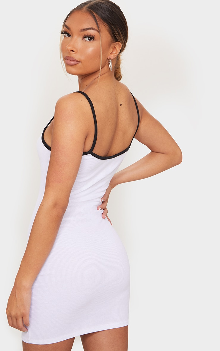 White Cherry Embroidery Contrast Strap Rib Bodycon Dress 2