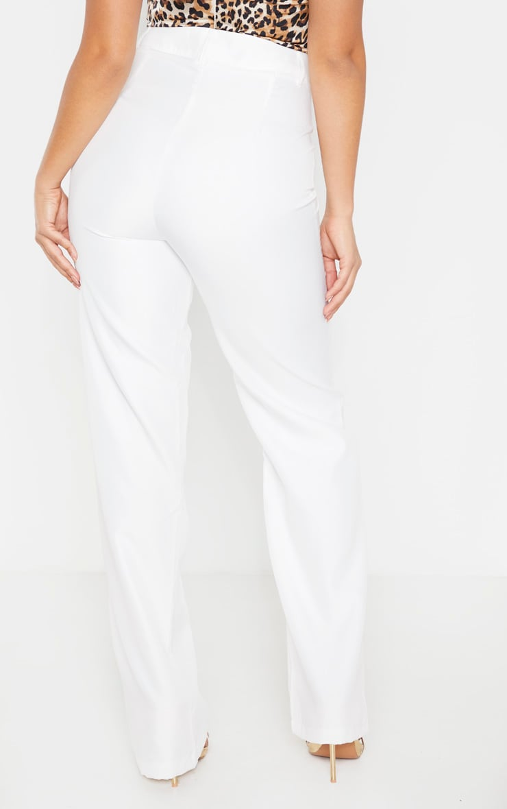 Petite White High Waist Straight Leg Trouser 4