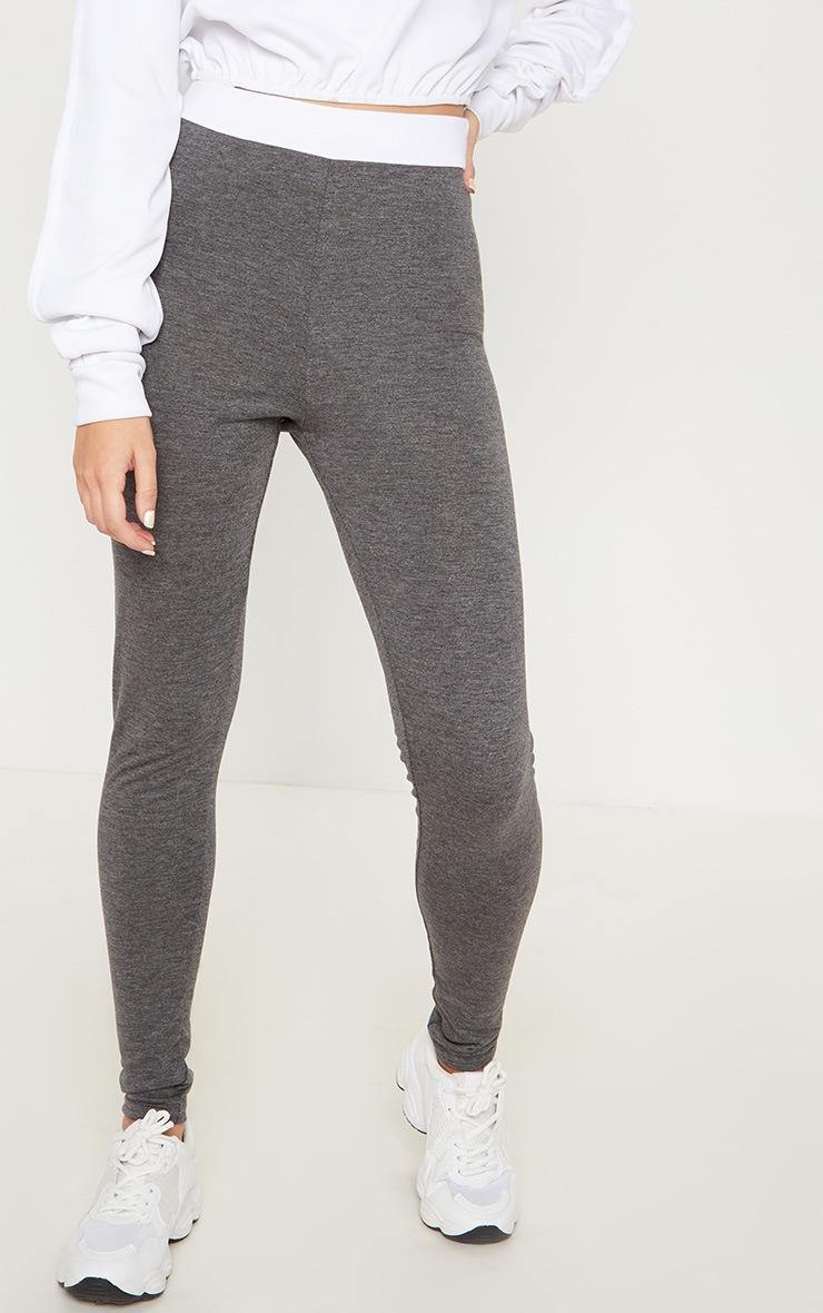 Dark Grey Contrast Waist Leggings 2