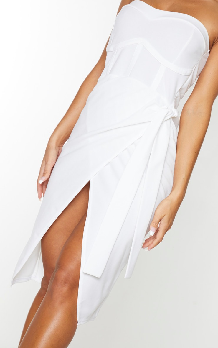 White Binding Detail Tie Wrap Bandeau Midi Dress 4