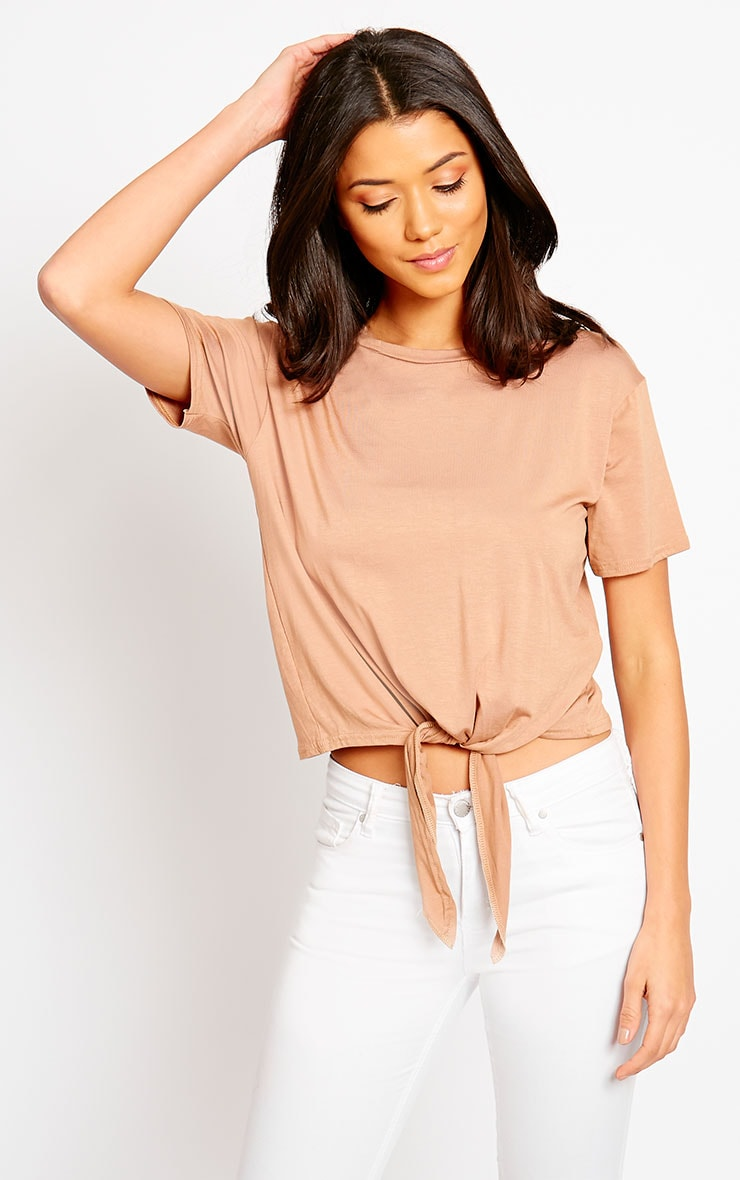 April Camel Tie Front Crop Tee 4