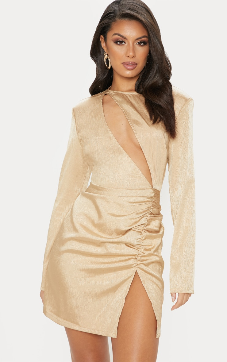 Champagne Satin Extreme Plunge Ruched Bodycon Dress 1