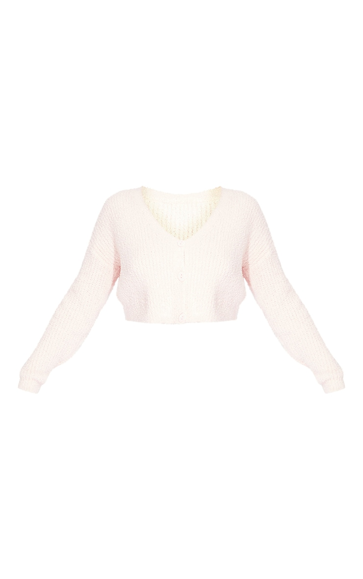 Baby Pink Fluffy Knit Cropped Cardigan 5
