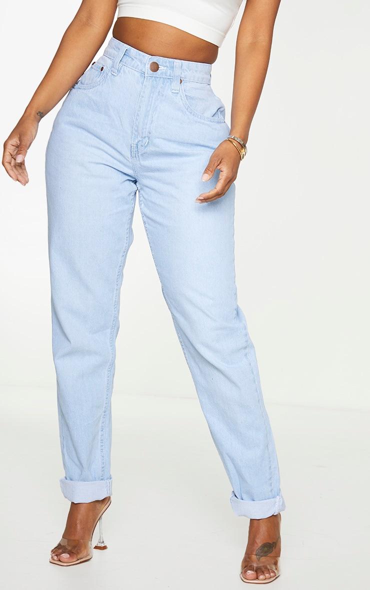 Shape Bleached Washed High Waist Mom Jeans 2
