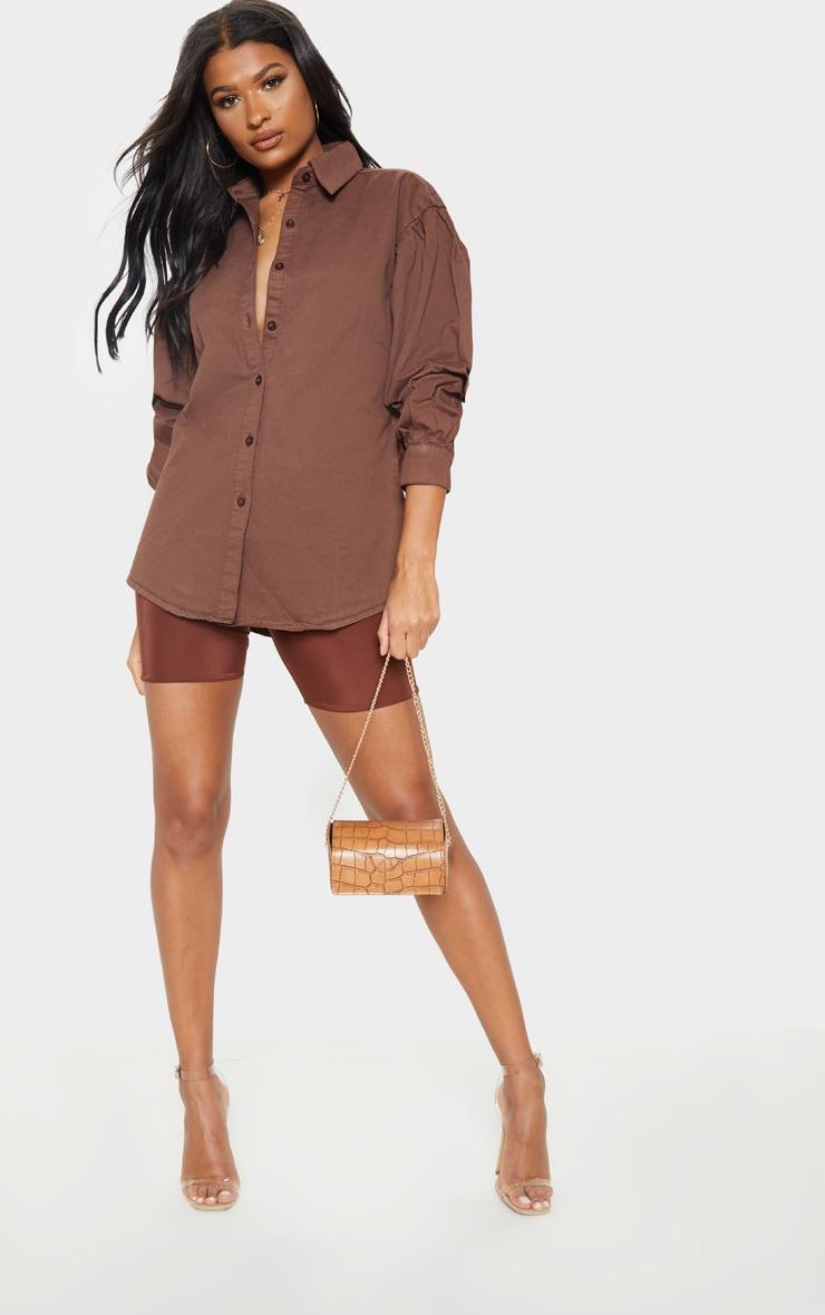 Chocolate Balloon Sleeve Denim Shirt  3