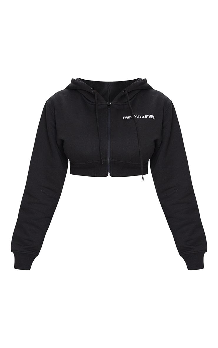 PRETTYLITTLETHING Shape Black Sweat Crop Sweater 5
