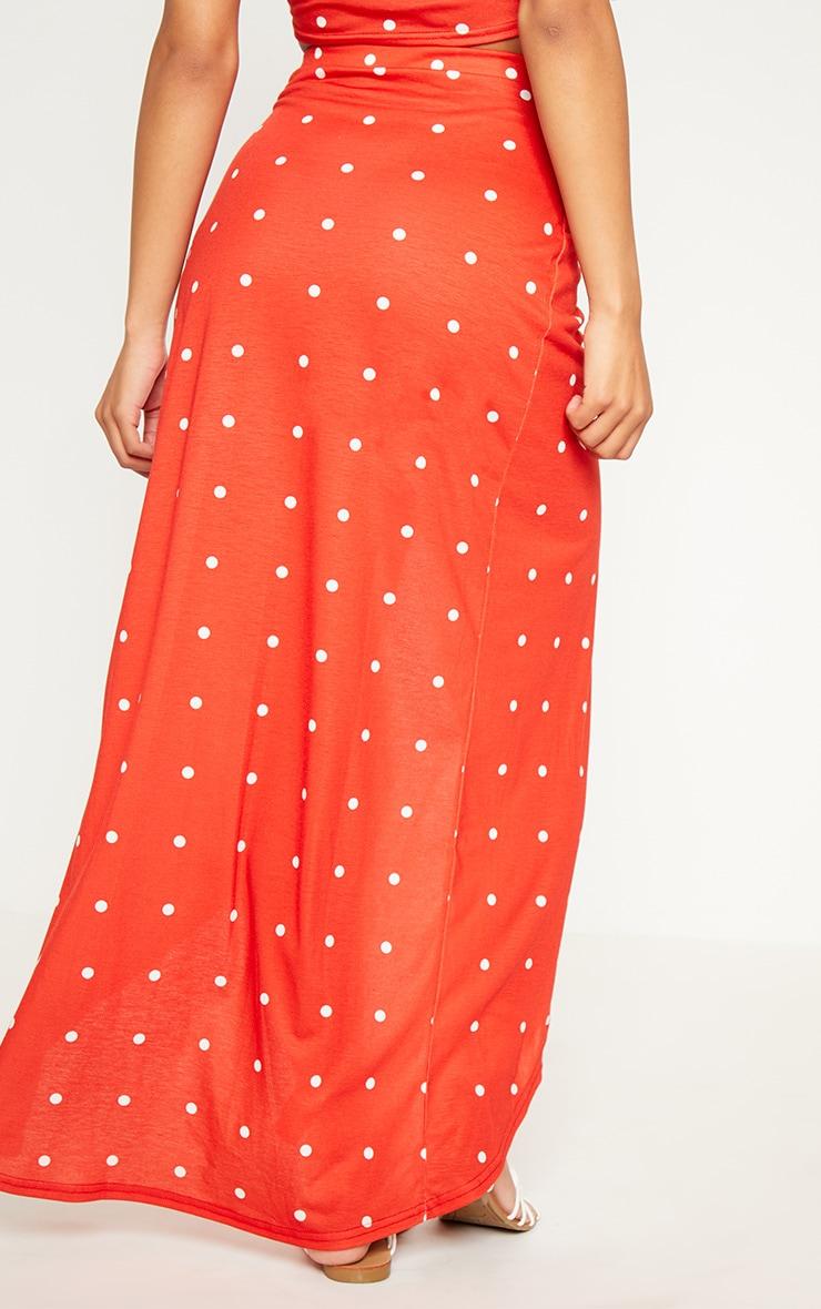 Red Polka Dot Jersey Split Front Maxi Skirt 4