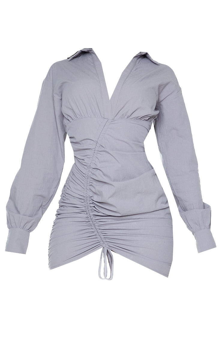 Grey Long Sleeve Asymmetric Ruched Bodycon Dress 5