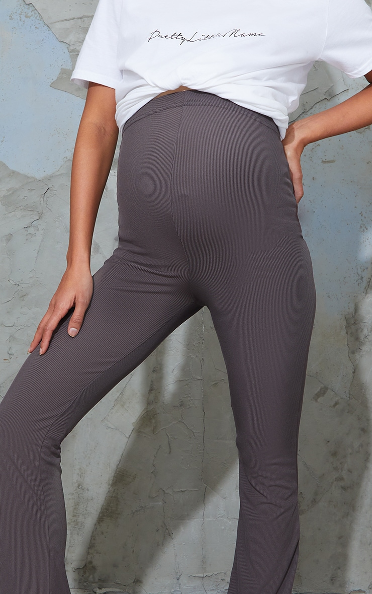 Maternity Slate Ribbed Flared Leggings 4