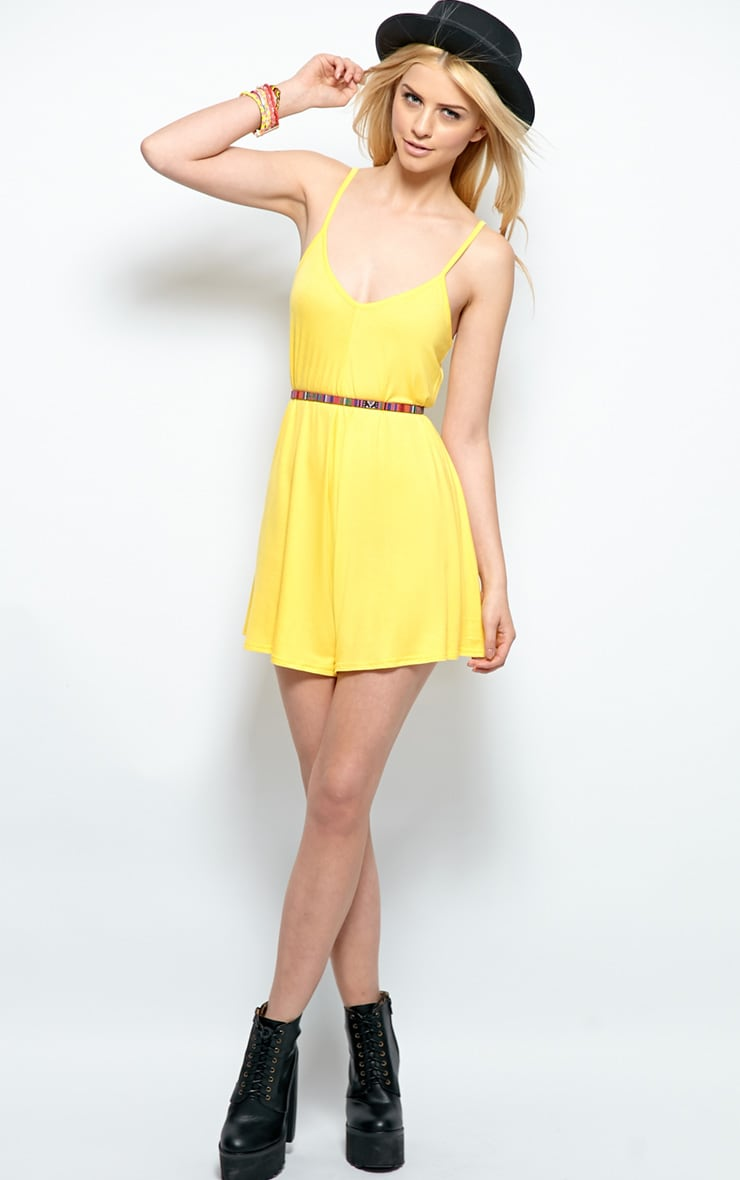 Isabel Yellow Strappy Swing Playsuit 3