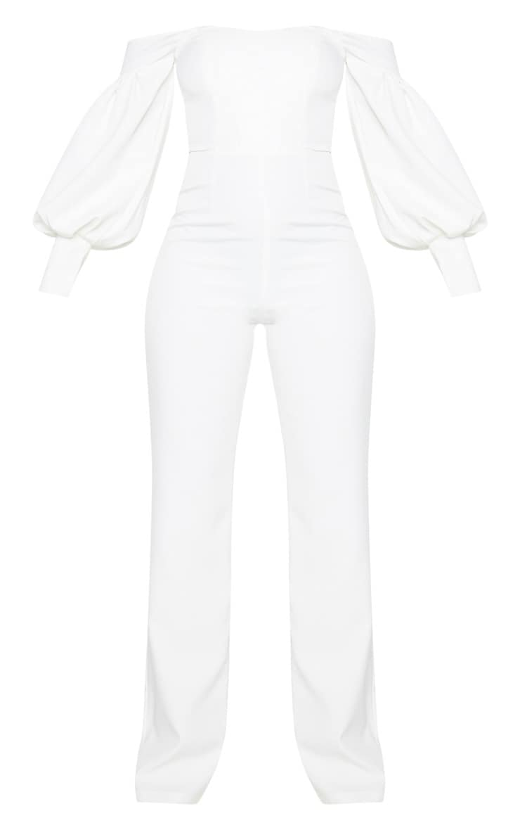 White Bardot Balloon Sleeve Corset Jumpsuit 3
