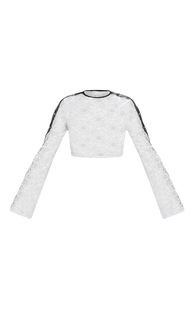 White Lace Popper High Neck Top 3