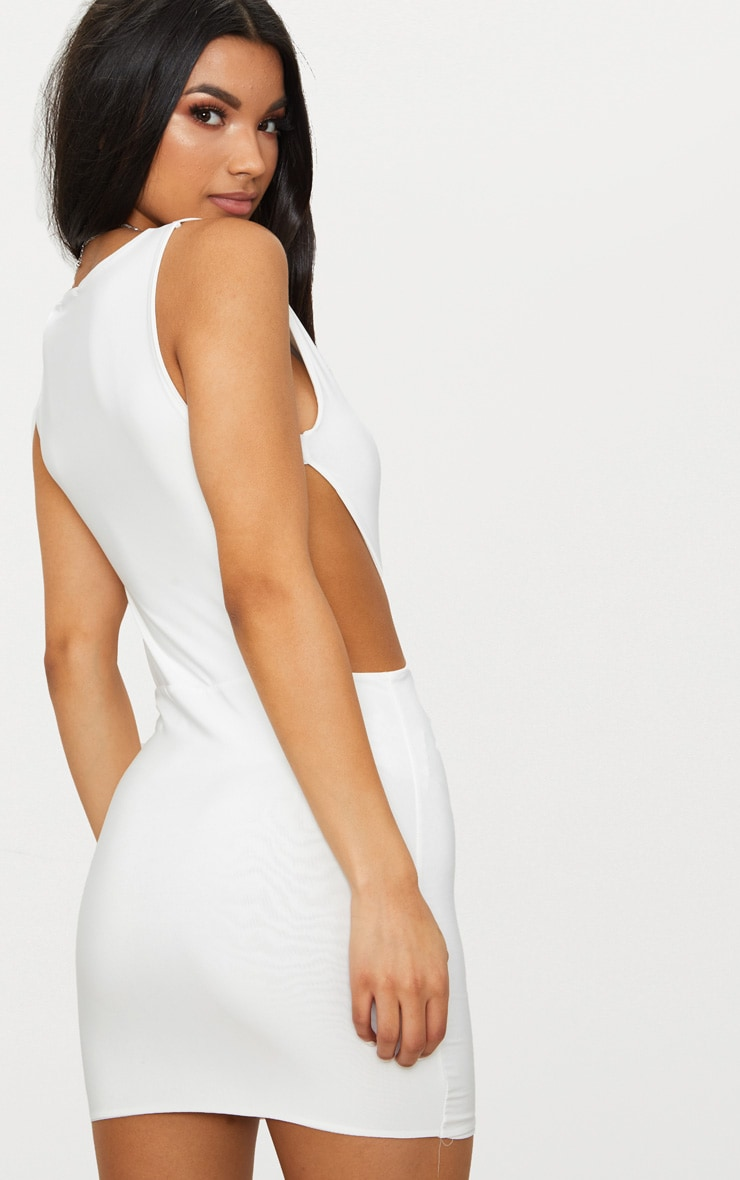 White Double Layer Slinky Cut Out Side Bodycon Dress 2