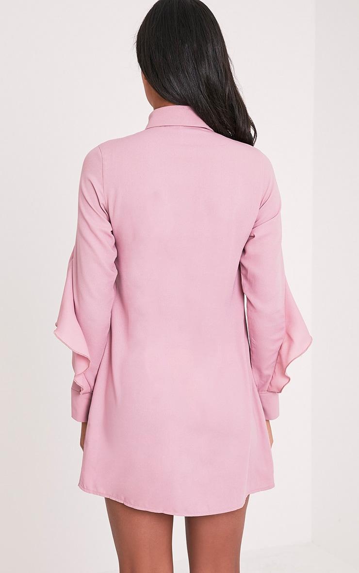Angelica Dusty Pink Ruffle Detail Shirt Dress 2