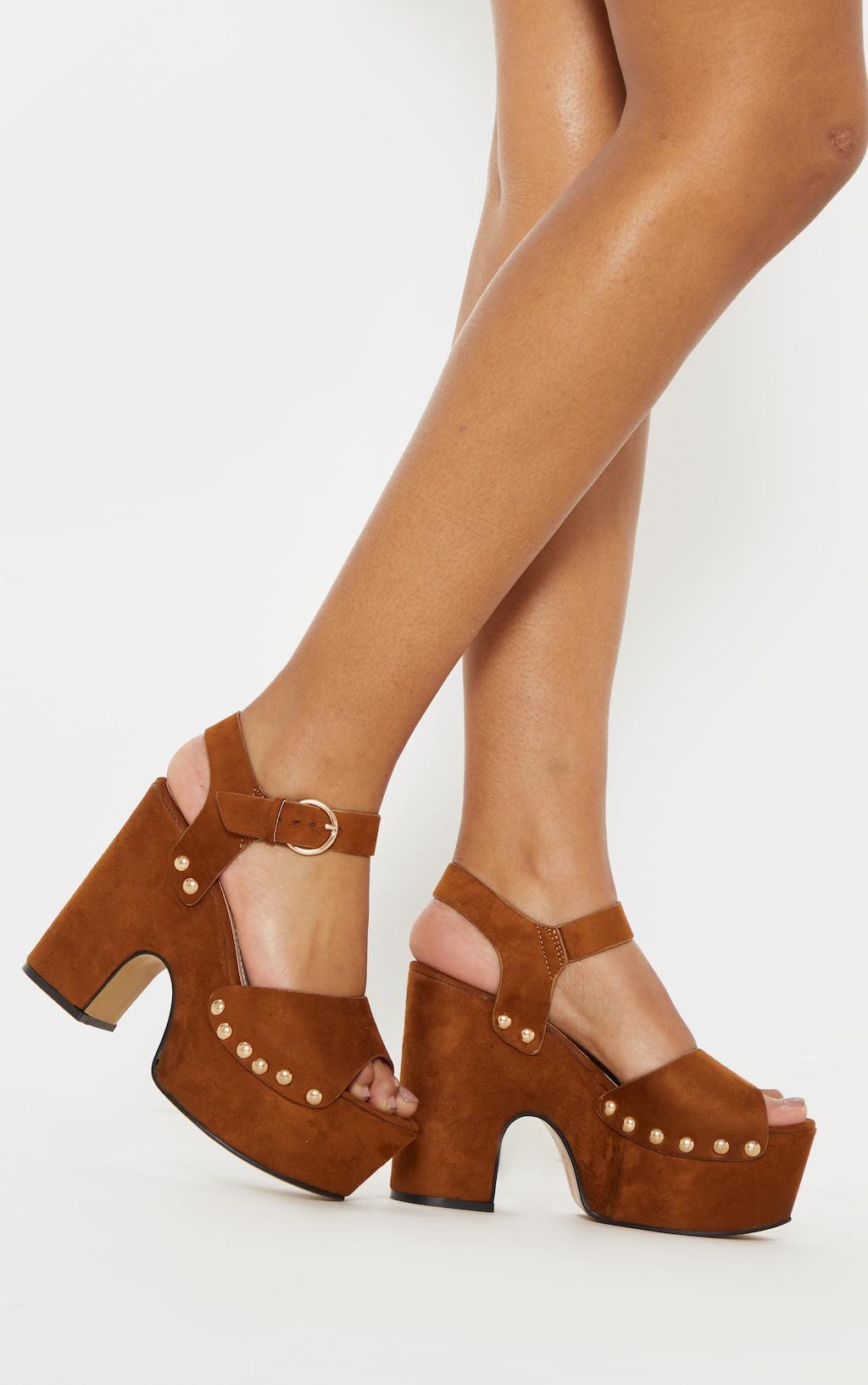 9ee25e15a5 Tan Studded Platform Sandal | Shoes | PrettyLittleThing
