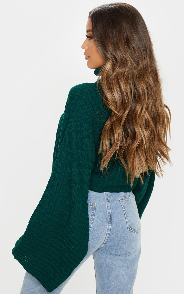 Green Ribbed Knit High Neck Sweater  2