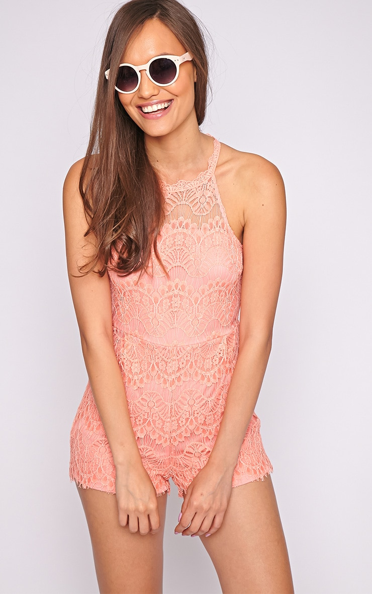 Larissa Peach Lace Playsuit  1