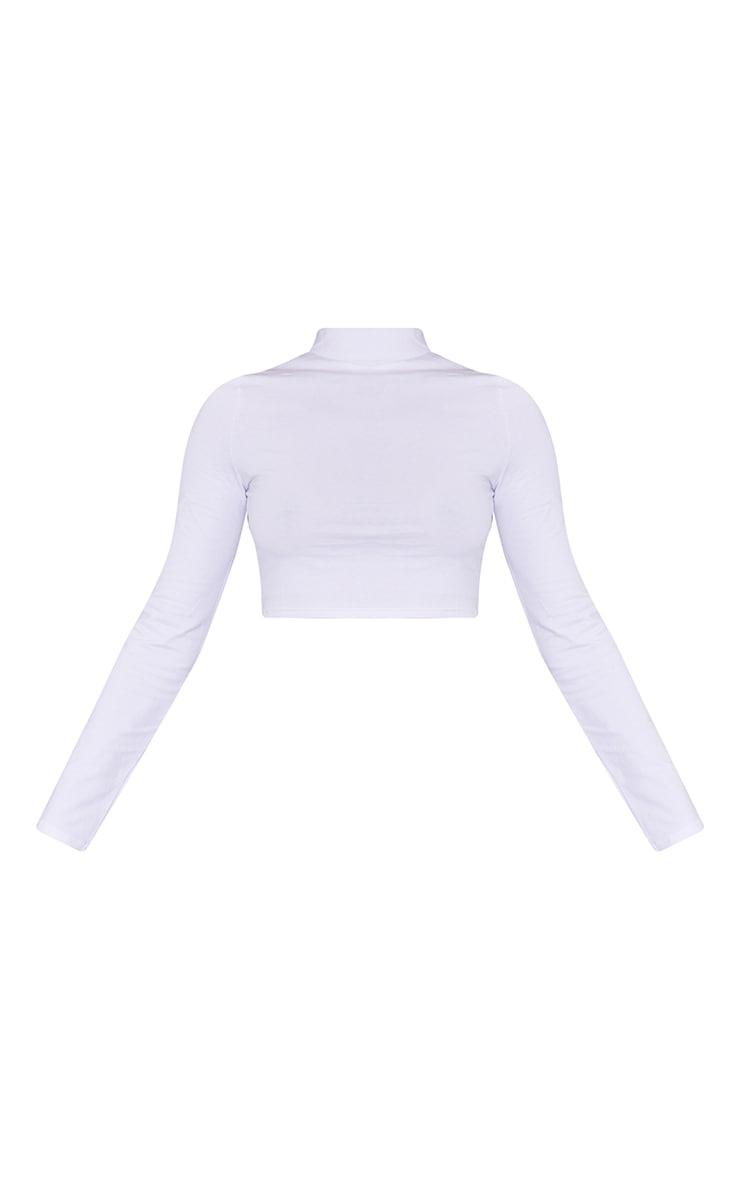 White High Neck Long Sleeve Crop Top 5