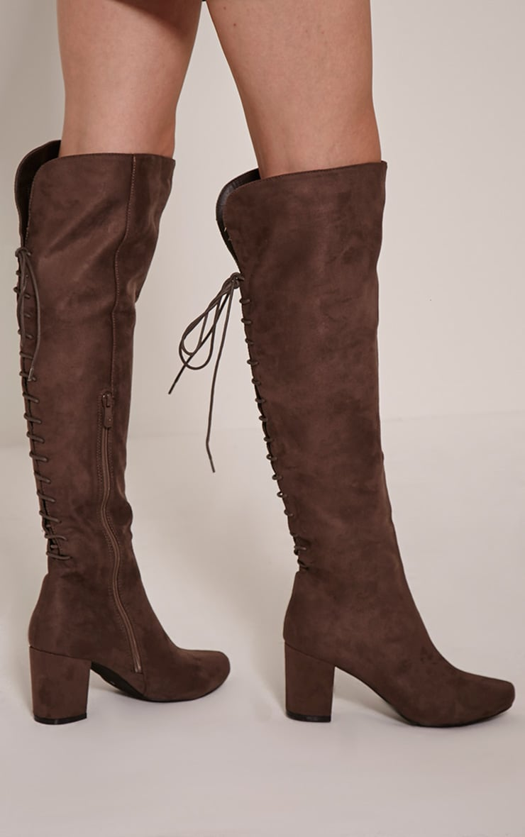 Sharan Taupe Faux Suede Laced Up Boots 2