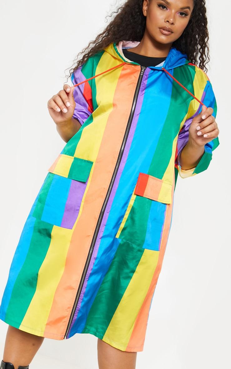 Plus Multi Stripe Longline Rain Mac 5