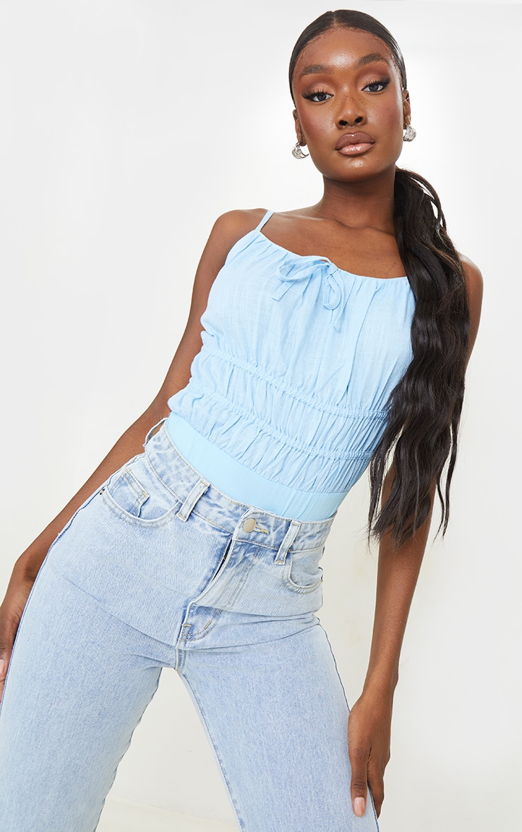 Tall Baby Blue Strappy Ruched Bodysuit 1
